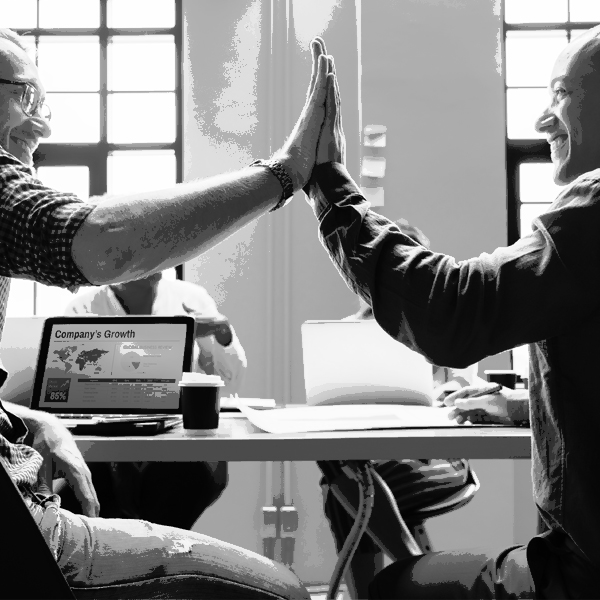 customer testimonial-coworkers giving high five